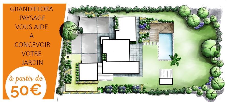 Bureau d'études de Grandiflora : spécialiste de la conception et de l'aménagement paysager de jardin, esquisse, plans de plantation, croquis, 3D... Un service de qualité pour le particulier ou le professionnel du paysage.