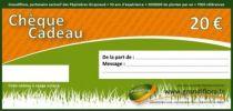 chèque cadeau 20 euros, valable 1 an sur tout le site Grandiflora, un grand choix de plantes au meilleur prix.